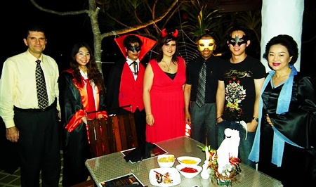 Management and guests dress spookily at Breezeo restaurant in the Royal Cliff.