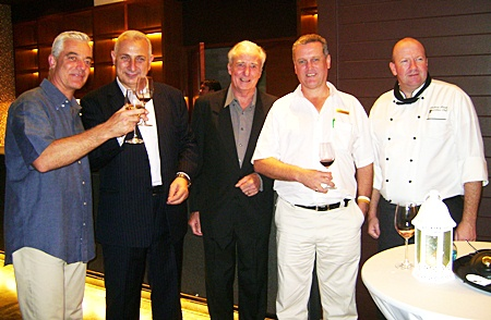(L to R) Adrian Brown, GM Centara Grand; Peter Papanikitas, MD Stonefish wines; Dr Iain Corness; Mark Cawley, EAM F&B, and Executive Chef Andrew Brown introduce the Stonefish Australian wine label.