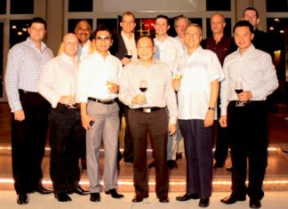 The GM Gang pose for a commemorative picture. (Front Row l-r) Craig J Ryan, Holiday Inn Pattaya; David Cumming, Amari Resort & Tower Pattaya; Prayudt Thamdhum, Montien Hotel Pattaya; Chatchawal Supachayanont, Dusit Thani Pattaya; Andre Brulhart, Centara Grand Mirage Beach Resort Pattaya; Nijaporn Marpresert, Siam Bayview Pattaya. (Back Row l-r) Peter Malhotra, Pattaya Mail Media Group; Harald Feurstein, Hilton Pattaya; Michael Gangster, dusitD2 baraquda Pattaya; Nicholas LeRat, Mercure Pattaya; Philippe Delaloye, Pullman Pattaya Aisawan; and Michael Delargy, Sheraton Pattaya.