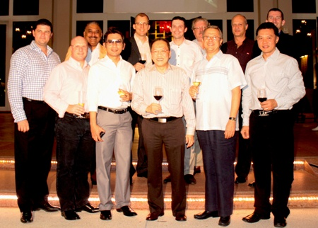 The GM Gang pose for a commemorative picture. (Front Row l-r) Craig J Ryan, Holiday Inn Pattaya; David Cumming, Amari Resort & Tower Pattaya; Prayudt Thamdhum, Montien Hotel Pattaya; Chatchawal Supachayanont, Dusit Thani Pattaya; Andre Brulhart, Centara Grand Mirage Beach Resort Pattaya; Nijaporn Marpresert, Siam Bayview Pattaya. (Back Row l-r) Peter Malhotra, Pattaya Mail Media Group; Harald Feurstein, Hilton Pattaya; Michael Gangster, dusitD2 baraquda Pattaya; Nicholas LeRat, Mercure Pattaya; Philippe Delaloye, Pullman Pattaya Aisawan; and Michael Delargy, Sheraton Pattaya.