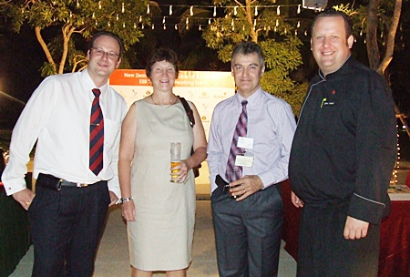 (L to R) Max Sieracki, resident manager of the Amari Orchid Pattaya; Nikki Cox, president of the New Zealand Thai Chamber of Commerce; Richard Prouse, Business Development Manager for the Sutlet Group; and Jens Heier, executive chef for the Amari Orchid Pattaya.