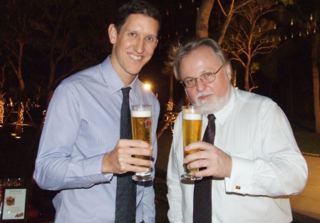 Stuart Blott (left), general manager of the Sutlet Group and Colin Bartlett (right) toast to your health.