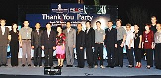 Panga Vathanakul (8th left) MD of The Royal Cliff Hotels Group and her Executive team pose for a picture with the honoured guests; His Excellency Chumphol Silapa-archa (7th from left), Minister of Tourism and Sports; Sombat Kuruphan (9th from left), Permanent Secretary of Ministry of Tourism and Sports; and Suraphon Svetasreni (10th from left), Governor of the Tourism Authority of Thailand during the Royal Cliff Hotels Group annual Thank You Party.