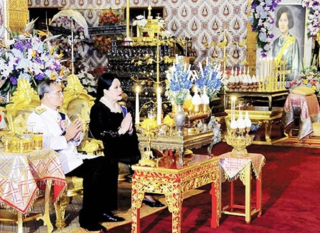 Their Majesties the King and Queen attend religious rites for the late H.R.H. Princess Galyani Vadhana, at the Dusit Throne Hall inside the Grand Palace Friday, Nov. 14, 2008. (AP Photo/Bureau of the Royal Household)
