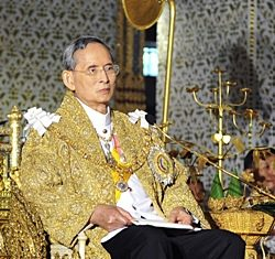 HM King Bhumibol Adulyadej delivers his annual birthday speech as part of his 83rd birthday celebration at the Amarin Winitchai Throne Hall inside the Grand Palace in Bangkok, Sunday, Dec. 5, 2010. (AP Photo courtesy Bureau of the Royal Household)