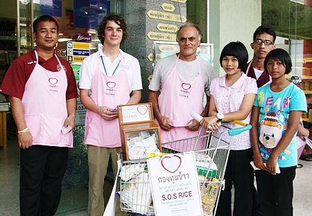 As well as rice almost half a million baht was donated.