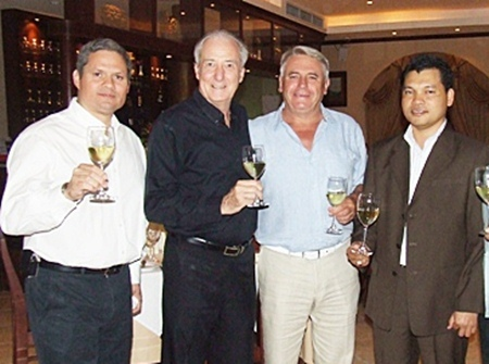 (L to R) Carlos Briones, sales manager for Chocolan Wines; Dr. Iain Corness; Jean Bousquet and Natthachai Chaiyaprom.