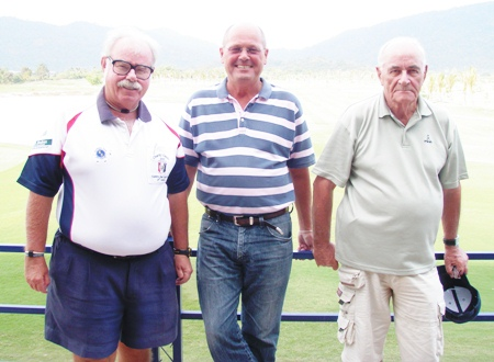 (Left to right): The Admiral with Tuesday's winners Niels Hansen and Hugh O'Donnell at Pleasant Valley.
