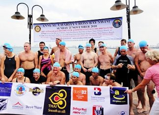Despite the chilly waters, the swimmers made it from Bali Hai Pier to Dusit Thani.