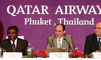 At the Qatar Airways' press conference in Phuket addressing local, regional and international media are Chief Executive Officer Akbar Al Baker (center) flanked by Senior Vice President East Asia and South West Pacific Marwan Koleilat (right) and Country Manager Thailand, Cambodia & Myanmar Joe Rajadurai (left).