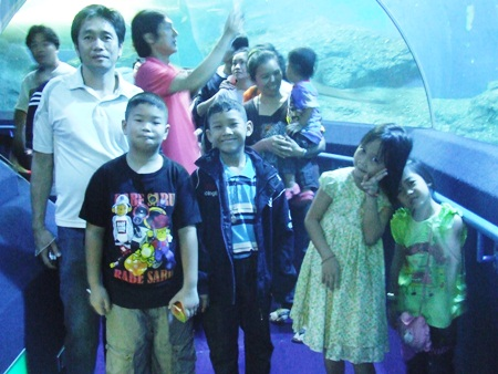 Youngsters are amazed at the creatures above them during Children's Day at Underwater World.