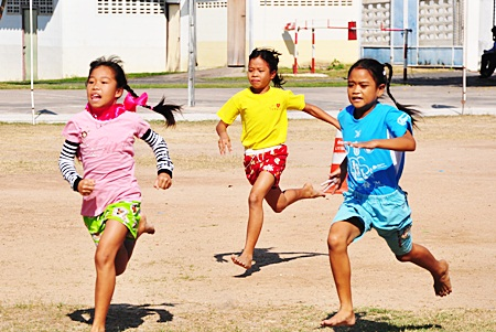 Racing for the finish line at Pattaya Orphanage.