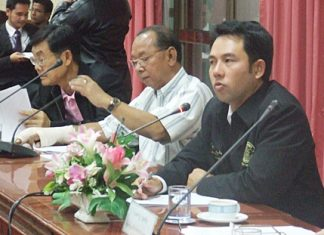 Mayor Itthipol Khunplome chairs the meeting to discuss the ongoing zoning plan for the city.