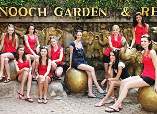 Finalists in the Miss Slovakia beauty pageant pose for a publicity photo at Nong Nooch Tropical Garden.