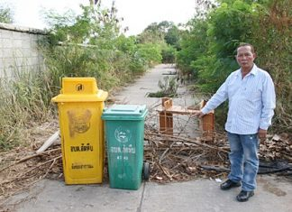 Village chief Natchai Sangsri has put large tree branches across both entrances to Soi Long Poi where thieves have been stealing the drain covers, making it hazardous to travel there.