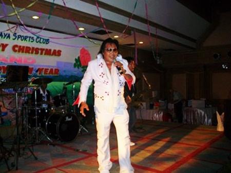 """""""Elvis"""" enters the building."""