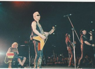 The Scorpions are seen performing live at the Impact Arena in Muang Thong Thani, Bangkok on Thursday, Feb. 10.