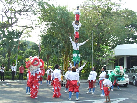 Chinese acrobats perform at Hard Rock Hotel, Pattaya.