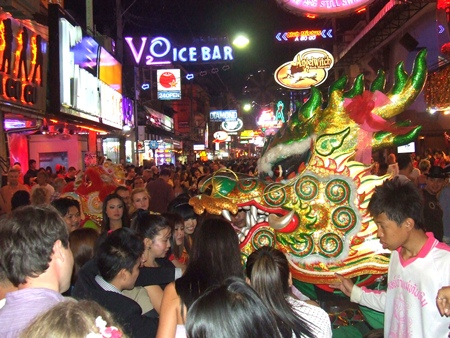 The dragon winds its way down Walking Street.