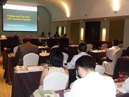 Eastern Thai Hotel Association members attend a meeting held at the Zign Hotel, Feb. 24, to discuss marketing strategies for 2011.