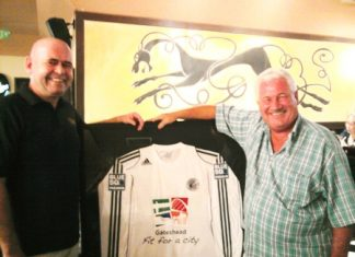 Stewart Fraser of Shenanigans Irish Bar in Jomtien, left, is seen with former Gateshead goalkeeper George Alberts, who lives in Thailand, with a backdrop of a framed Gateshead Football Club shirt brought over by Laurence Dinning one of the club's sponsors. Gateshead, who are currently members of The National Conference league in England, are two games away from a Wembley appearance in The FA Trophy. George, who played under two managers at Gateshead in the 1960's (former Newcastle winger Bobby Mitchell, and George Hardwick of England and Middlesbrough) was delighted with the presentation and remarked that another former Gateshead player Tom Callender, who played 432 games for Gateshead in the old 3rd Division (North), had once been described by the late Nat Lofthouse as one of the best centre half's he had played against. Bolton beat Gateshead 1-0 in an FA Cup 6th round tie in 1953 on their way to the final against Blackpool.
