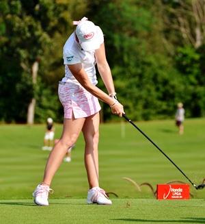 Paula Creamer hits her tee shot on the 16th hole.