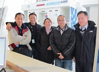 Thai Airways International Public Company Limited (THAI) sent pilots to receive training in Toulouse, France for a period of 5 weeks in preparation to operate Airbus A380 aircraft that will enter the fleet in 2012. Captain Noparat Yeesun (2nd right) led the pilot group in this training session, accompanied by Captain Nathaphong Lekhavat (1st right), Captain Chawan Ratanawaraha (2nd left), and Captain Thospol Bhurivatana (1st left), who attended 11 sessions and 44 hours of training from Airbus that includes theoretical study and simulator training.