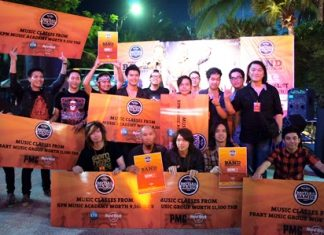 Luminasion pose with musicians from the second and third placed bands after winning first prize at the Battle of the Bands 2011 contest held at the Hard Rock Hotel Pattaya on Friday,. March 11.