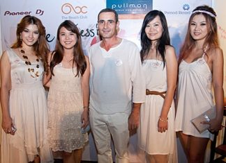 """The """"White Session"""" has become one of the most """"talk of the town"""" parties in Pattaya City. The event on March 5 saw Serge Rigodin (centre), operations manager of the Pullman Pattaya Aisawan welcome famous personalities such as superstar Evitra """"Natt"""" Srirasart; Torsangrussamee """"Lookpat"""" Teetakaew, young news broadcaster of Modern 9; Sukanda """"Kapook"""" Kittikunadul, assistant to managing director of T.V.Try; Parames Preechajam, editor of Audrezy Online Magazine; and Napatr Chayadom, marketing director of Nimman Creations."""