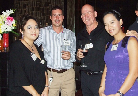AustCham networking evenings are also fun. June Chua Unland (Advanced ID Asia Engineering), Andy Hall (CEA Project Solutions), Stuart Lloyd (Ideology Asia), and Isaree Somboonsakdikul (Ideology Asia Engineering) are living proof.