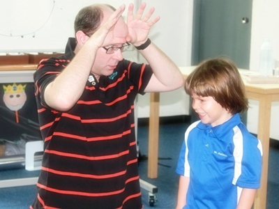 Seb from Kindergarten loved getting involved in character making with author Ian Billings.