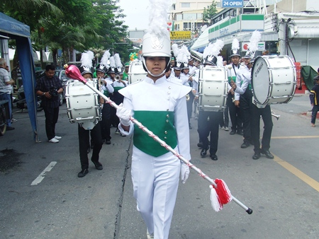 One of the many local marching bands that joined the parade.