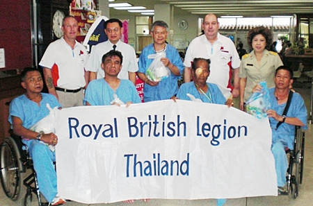 Secretary Bert Elson and Standard Bearer Richard Holmes at the Thai Veterans Hospital in Bangkok.