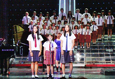 Members of the Regent's School Whole School Choir perform at Tiffany's.