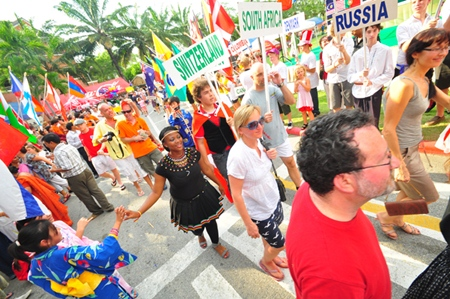 The colorful flag parade.