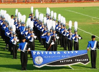 Musicians in the Pattaya Marching Band are lined up and ready to give their award winning performance.