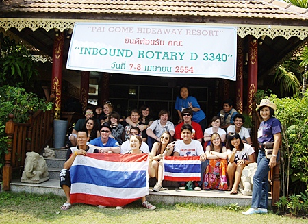 Onanong Siripornmanut (standing right) Chairperson together with committee members Kittisak Pensuwaparp (seated front left) and Worapan Anuchalakom (standing rear) of the Rotary District 3340 Youth Exchange Program led a group of 'inbound' youth exchange students on an adventurous educational trip to the north of Thailand recently. The children of various nationalities and cultures experienced firsthand the customs and lifestyles of the native Thai people of that region. The Youth Exchange students come from various countries in North and South America, Europe and Asia. The Rotary Youth Exchange program provides thousands of young students with the opportunity to meet people from other countries and to experience new cultures, planting the seeds for a lifetime of international understanding.