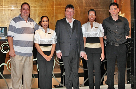 The management and staff of the Nova Gold Hotel Pattaya were thrilled to welcome snooker legend Jimmy White (centre) to the stylish boutique hotel recently.  On hand to receive him were (l-r) Michael Procher, the general manager, Patcharee Nirat, Pinmanee Bangthong and Sascha Kunze.