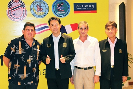 "Mayor Itthiphol Kunplome (2nd left) presided over a press conference held at the Pullman Pattaya Aisawan recently to announce the ""Star Master Petanque Thailand"" tournament which was successfully held last month at the Khao Rai Star Master Petanque Court on the 3rd Road, Central Pattaya. In attendance were Luc Rostici (left), President of Club Khao Rai Petanque Pattaya, Serge Rigodin (2nd right), Pullman Operations Manager and Jirawat Plukjai."