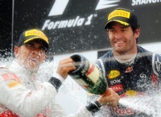 PHamilton and Webber on the podium
