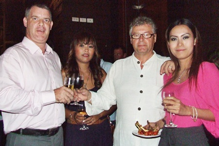 A toast to the lovely ladies, Joe Cox, Jutharat Champawong, Louis J. Van den Bergh and Panida Kaewpradit.
