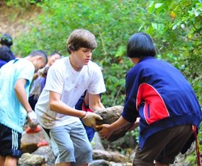 The students work hard on their visit to Mae Hong Son.