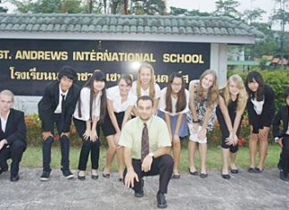 St. Andrews students Thomas, Aun, Beverly, Tiggy, Lera, Jasmine, Evelyn, Sunny, Earth, and Marie, and teacher Mr. Phillips, prepare to set out for UNESCO in Bangkok. (Also on the trip but not shown are students Rebecca and Tee.)