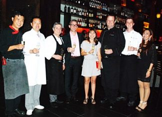 (L to R) Yongyuth Phianprasit, Mantra Restaurant and Bar's executive sous chef; Chef Hirokazu Tomizawa from Yoshimura, Japan; Chef Giorgio Stephanosio, Restaurant Galerie, Monpazier; Philippe Bramaz, wine maker from Best Cellar Co., Ltd.; Patcharee Musikul, sales manager of Best Cellar Co., Ltd.; Jens Heier, executive chef of Mantra Restaurant and Bar; Chef Werner Snoek from Saxon Boutique Hotel, Johannesburg; and Supparatch Piyawatcharapun, Mantra Restaurant and Bar's social director.
