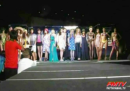 The models led by Natalie Glebova take to the catwalk