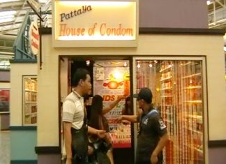 Police go into action at sex shop