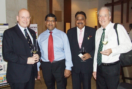 Graham Macdonald (left), chairman of BCCT, could not resist introducing Pratheep S. Malhotra (Peter), MD of the Pattaya Mail Media Group and Dr. Iain Corness (right), world renowned doctor, writer, motorcar racer and columnist, not to mention TV personality for PMTV to HE Asif Ahmad.