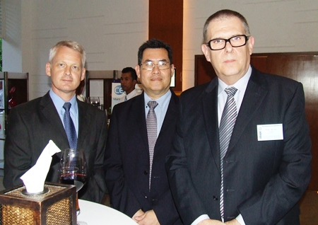 Dressed up to the nines for the special occasion (L to R) Alain Deurwaerder, MD Ducati Motor (Thailand) Co. Ltd., Attakorn Saropala, Trade and Investment Manager British Embassy Bangkok and Mike Allin MD of Solids Handling & Process Engineering Co., Ltd.