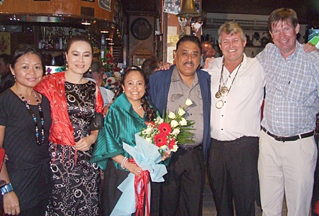 (L to R) Mio, Mae, Peter Malhotra and Jan Olav Aamlid arrive with love and best wishes for the loving couple.