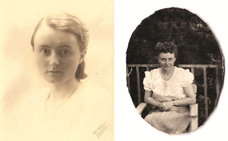 Herta Rommel as a young girl and as a young successful business woman.